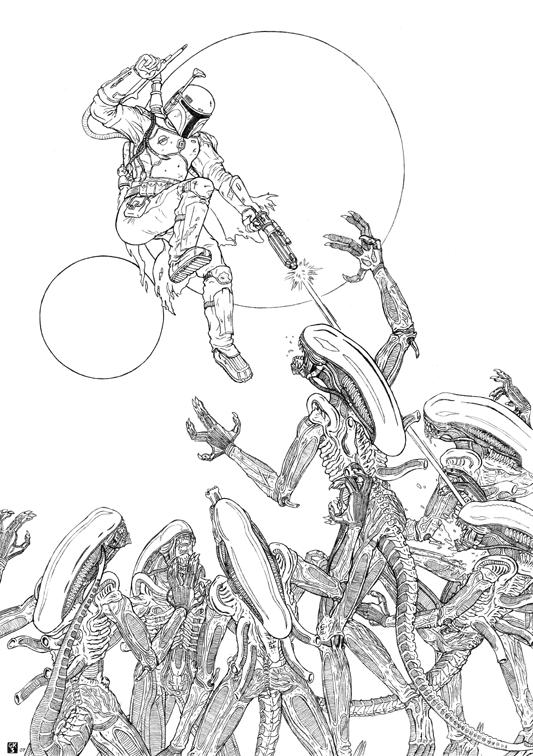 Aliens vs Boba Fett by GK3