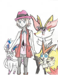Serena and her Pokemon by Pikafan09