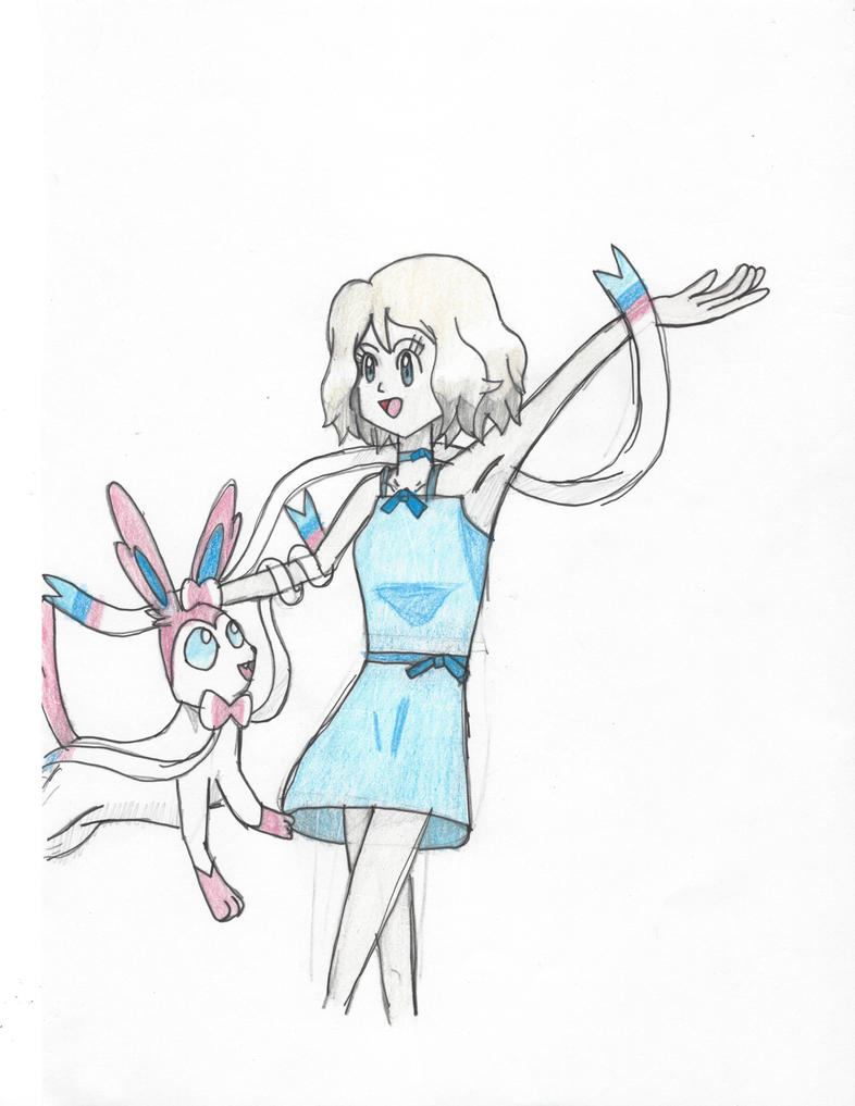 Serena dancing with her Sylveon! by Pikafan09