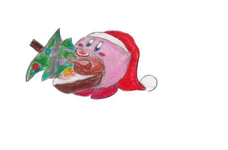 kirby eats christmas by DeekirbyDeeL
