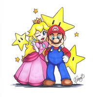 Mario Bros and Princess Peach by Weirdream13