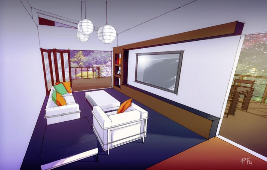 تصميم داخلي لغرفة استقبال في منزل