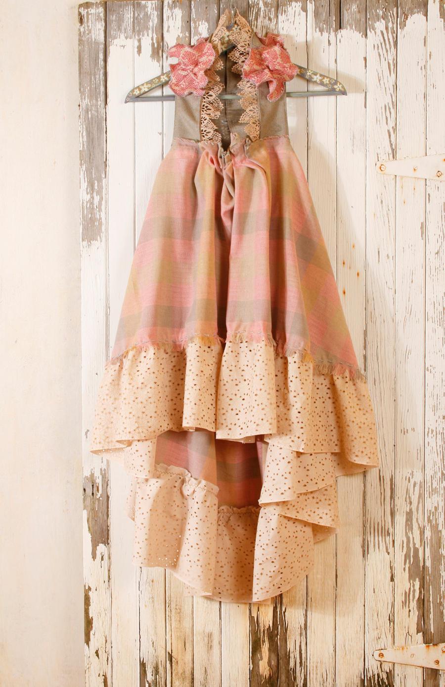 Shabby Chic Halter Dress In Pastel Gingham By Mynoush On