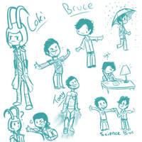 Loki, Bruce, and Tony doodles by DuskofGold5