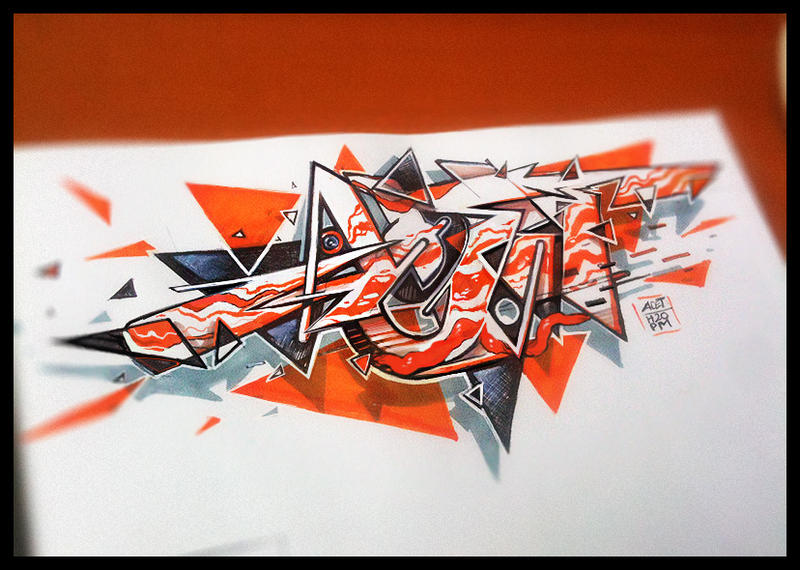 graffiti sketch orange triangle by acet1