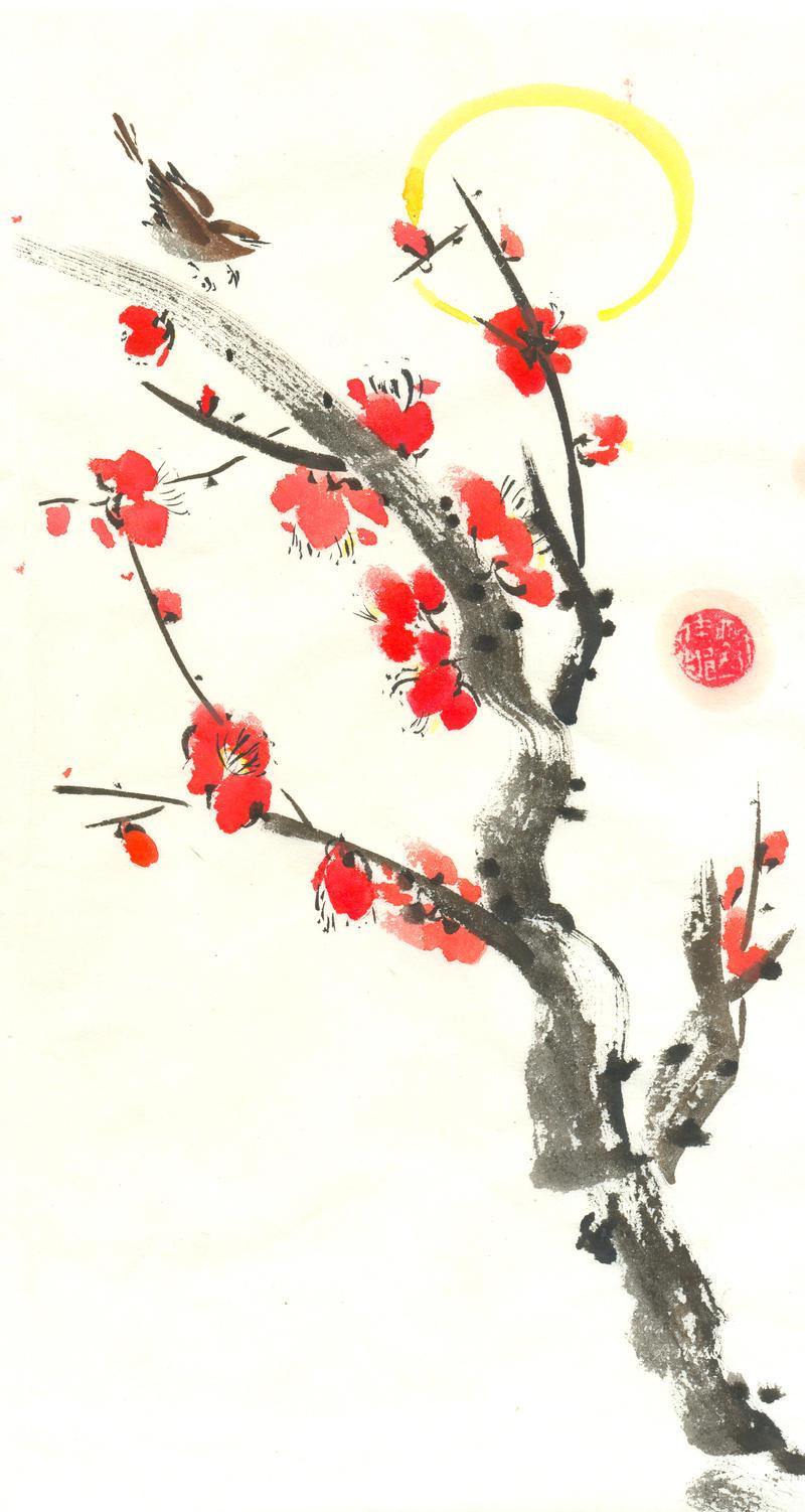 Sumi-e: Moonlight Serenade by catherinejao