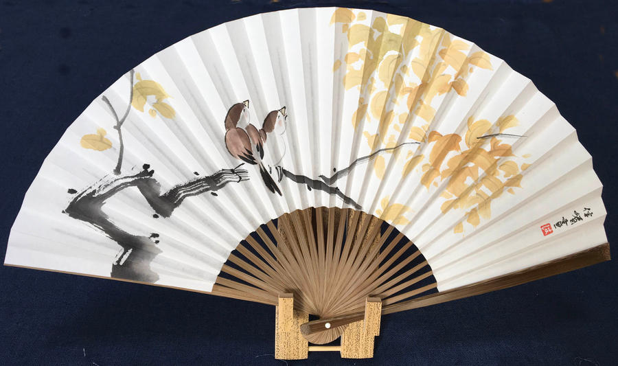 Maple Zen birds, handpainted Japanese folding fan by catherinejao