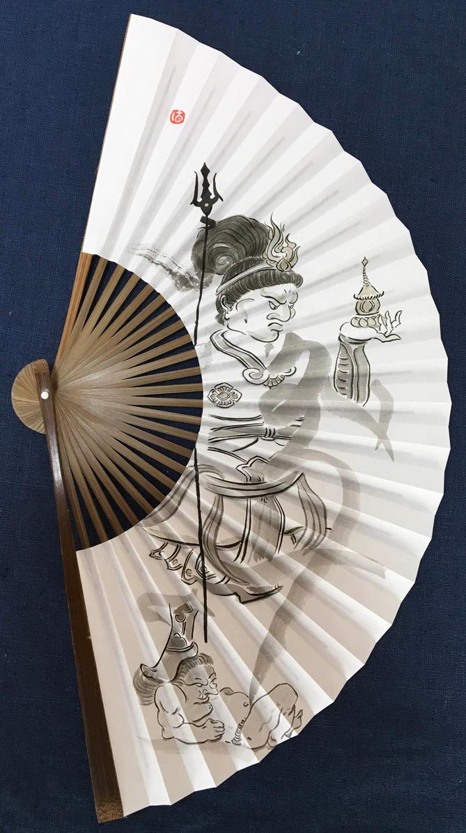 Always Listening, Bishamonten hand-painted fan by catherinejao