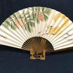 Oriental Japanese hand fan, squirrel and pine by catherinejao
