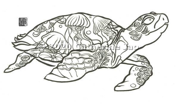 Hydroflask design - Hawksbill turtle