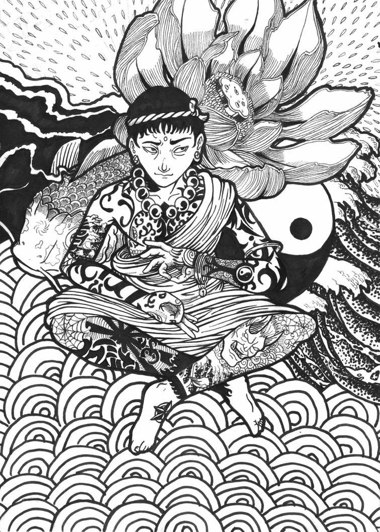 yakuza monk by italofc
