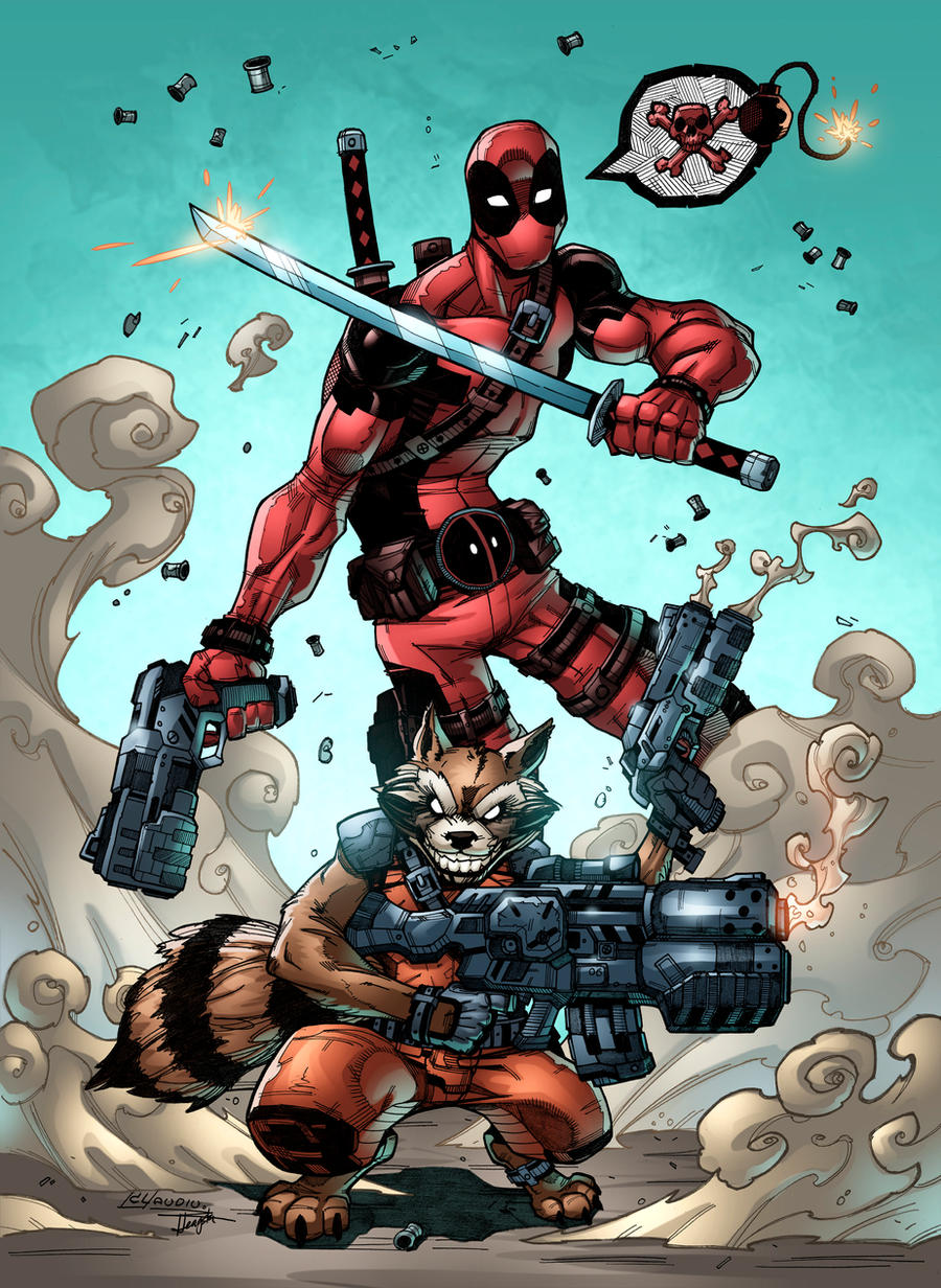 Deadpool and Rocket by CLaudiu Colors by HeagSta