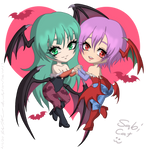 Morrigan and Lilith Chibis by Sabi-Cat-13