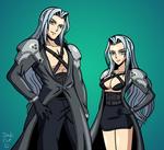 Sephiroth and Fem!Seph - REDRAW 2021 by Sabi-Cat-13
