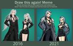 Sephiroth and Fem!Sephiroth REDRAW 2021 Comparison by Sabi-Cat-13