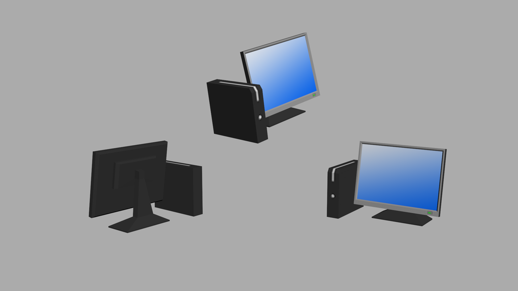 Low Poly Computer VARIOUS ANGLES by Caelhath