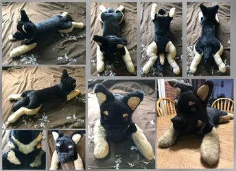 German shepherd x Dobie plushie by ElementalFurs