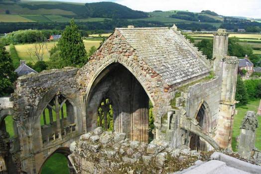 Scotland, Melrose Abbey above