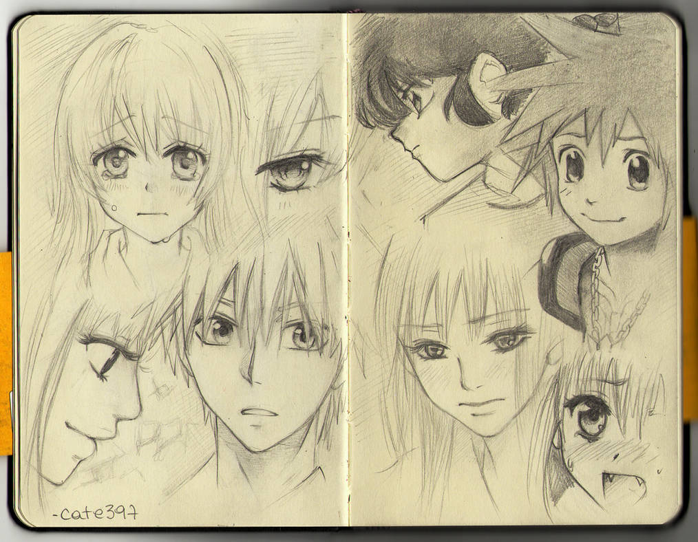 Moleskine manga sketches by cate397