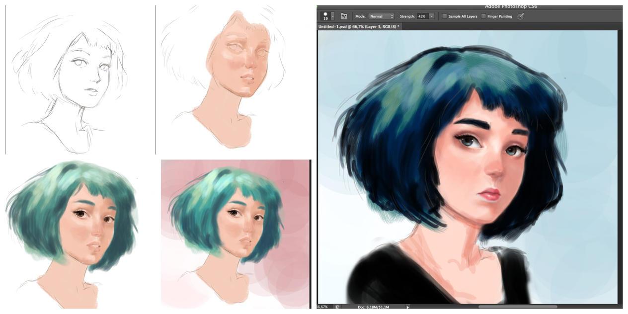Blue hair ( work in progress) by Cate397