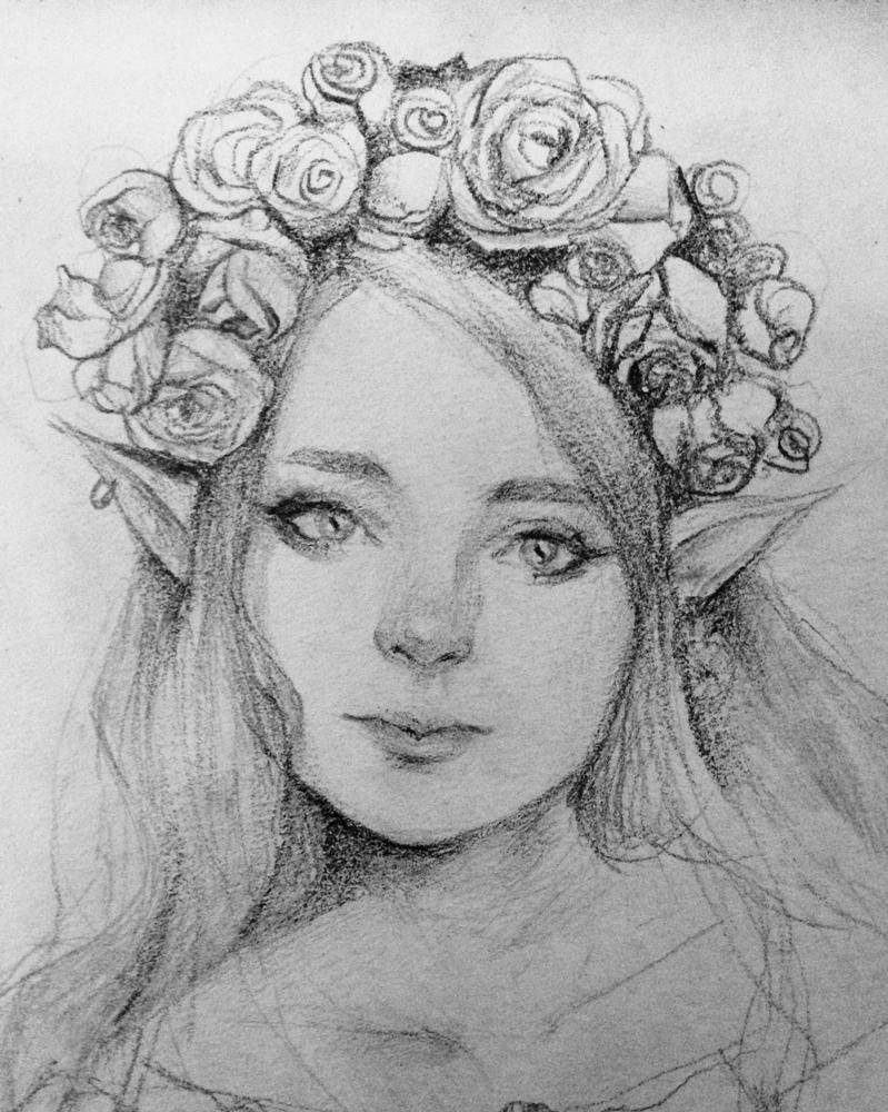 Cute elf sketch by Cate397