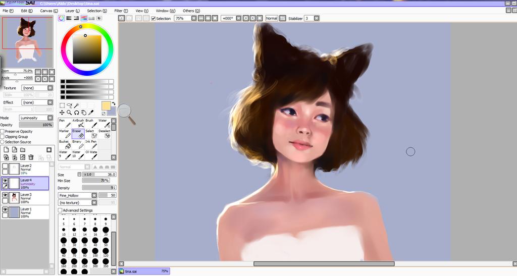 Neko girl study by Cate397