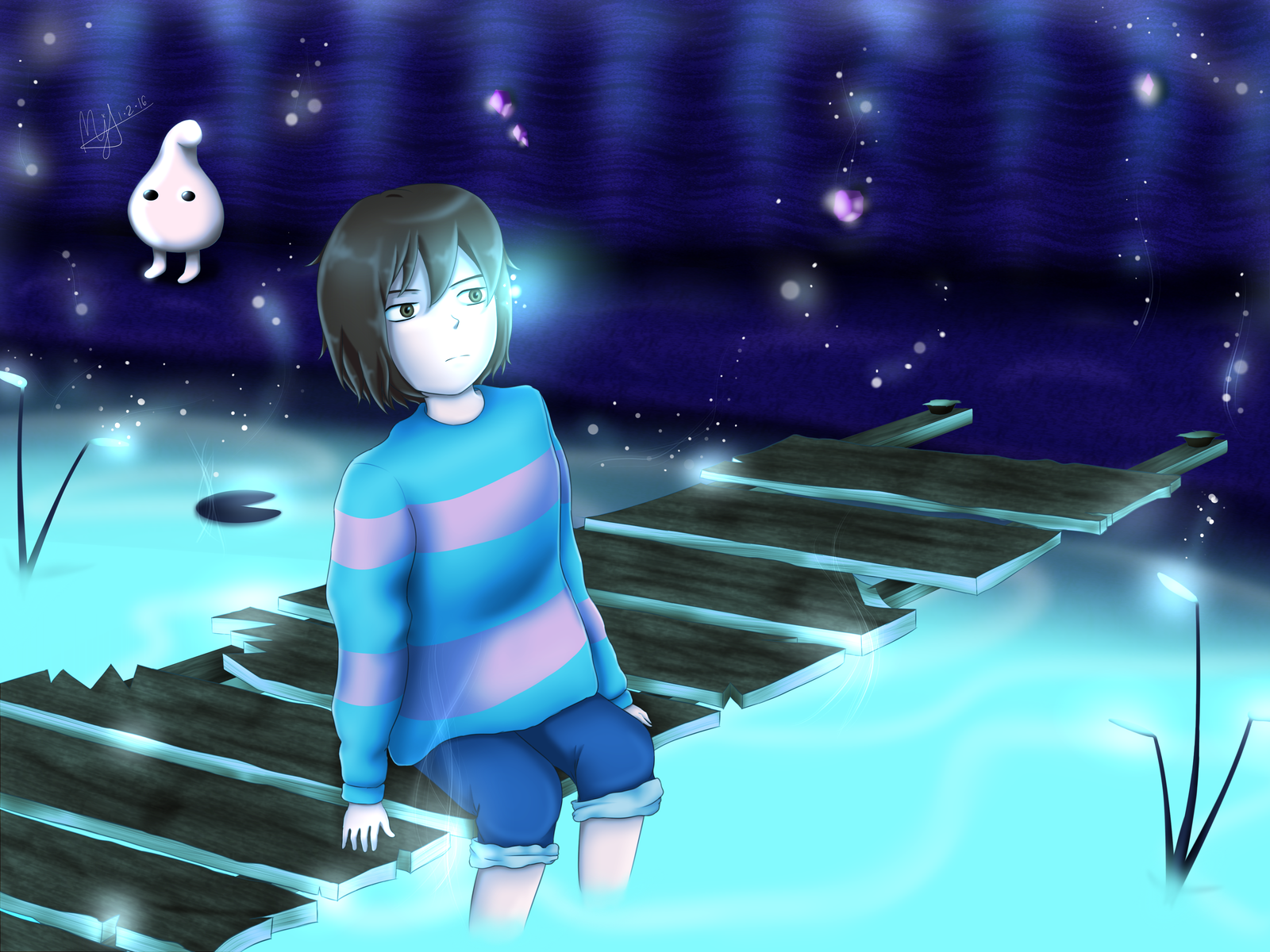 undertale frisk in waterfall -#main