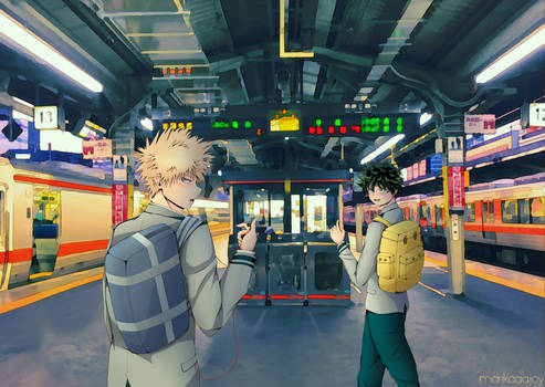 Bakugou and Midoriya (Train Station)