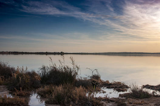 salt lakes of torrevieja at sunset