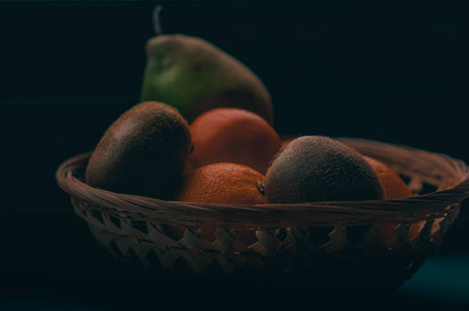 Moody fruits in a basket