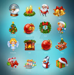 Christmas set of 16 cute icons.