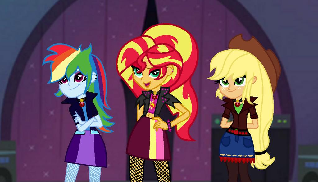 MLP The Dazzlings We're Here To Sing! (WBG) by SpeedPaintJayvee12