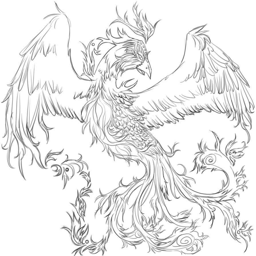 Bird Line Drawing Tattoo : Phoenix tattoo wip by tinnu on deviantart
