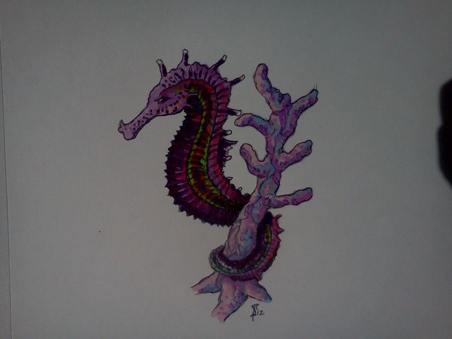 seahorse on coral tattoo by samaelt666 on deviantart. Black Bedroom Furniture Sets. Home Design Ideas
