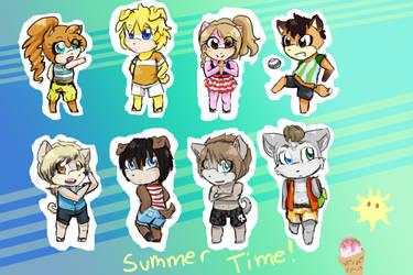 My R2L Summer Chibis by coockiesandshadow
