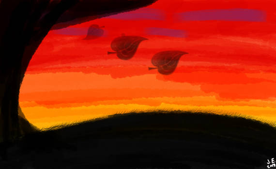 Sunset Digital Watercolor Painting