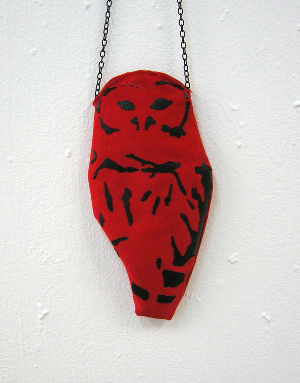 Red and Black Owl Bag by vannesdesigns