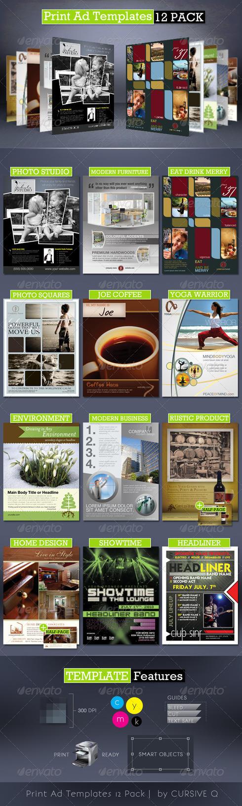Print Ad Templates 12 Pack by CursiveQ-Designs