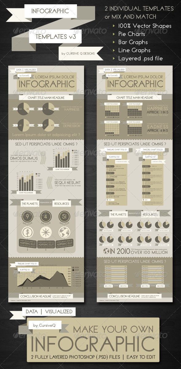 Infographic Templates .PSD v3 by CursiveQ-Designs