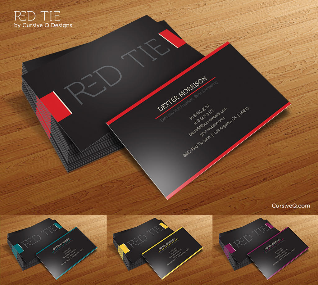 Free Business Card Template Red Tie by CursiveQ Designs