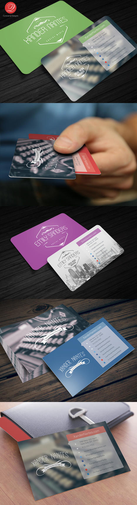 Social Media Business Card Photoshop Template by CursiveQ-Designs