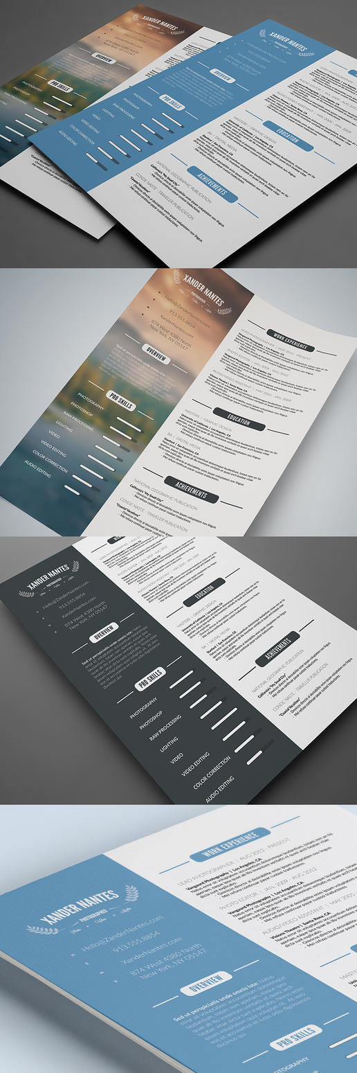 Clean Resume Photoshop PSD Template - Download by CursiveQ-Designs