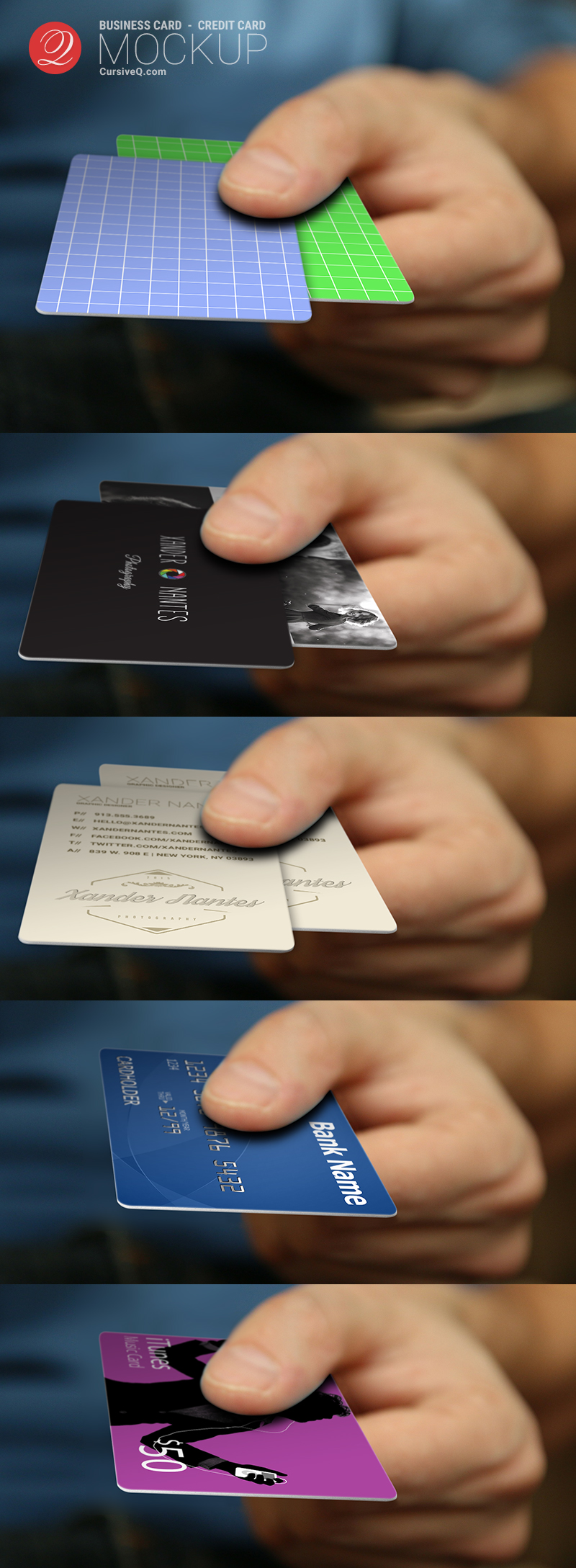 Free Business Card, Credit Card, Hand Mockup