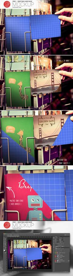 Free Greeting Card Rack Mockup PSD Template