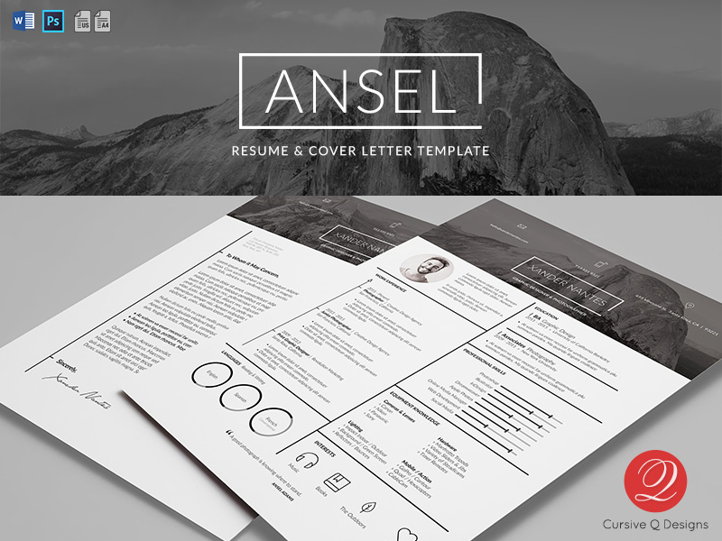 Ansel  Resume And Cover Letter Template PsdDocx By Cursiveq