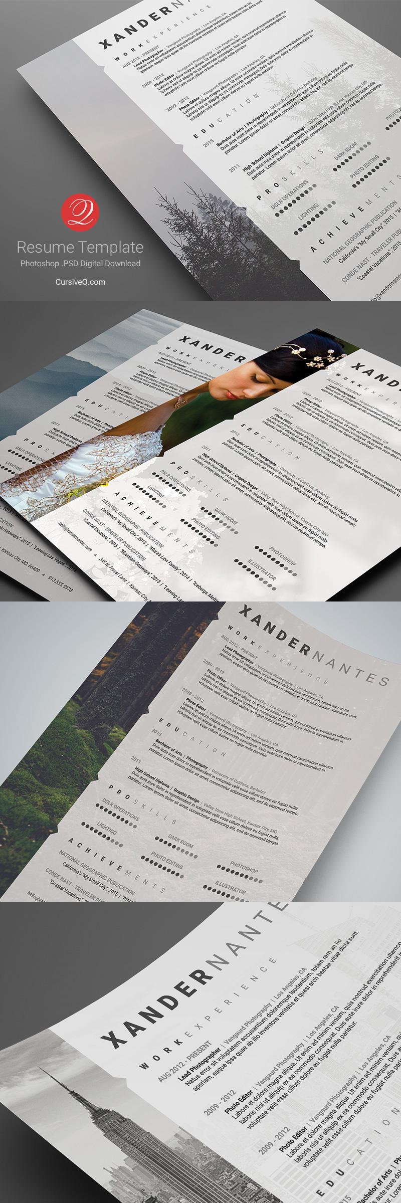 Photographer Resume Photoshop PSD Template