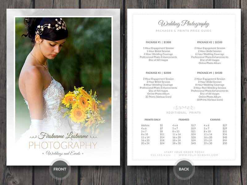 Wedding photographer price guide card psd template by for Templates for wedding photographers