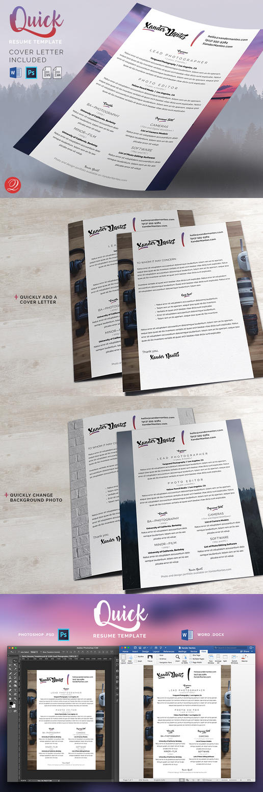 Quick - Resume and Cover Letter Template by CursiveQ-Designs