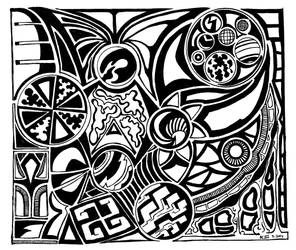 doodles, black  white March 2014 by alocle