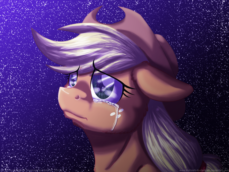 2013 applejack(mlp) blonde_hair cowboy_hat crying equine female freckles friendship_is_magic green_eyes hair hat...